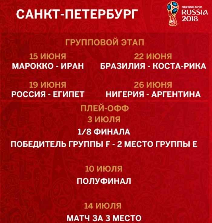 Расписание матчей на стадионе «Санкт-Петербург»