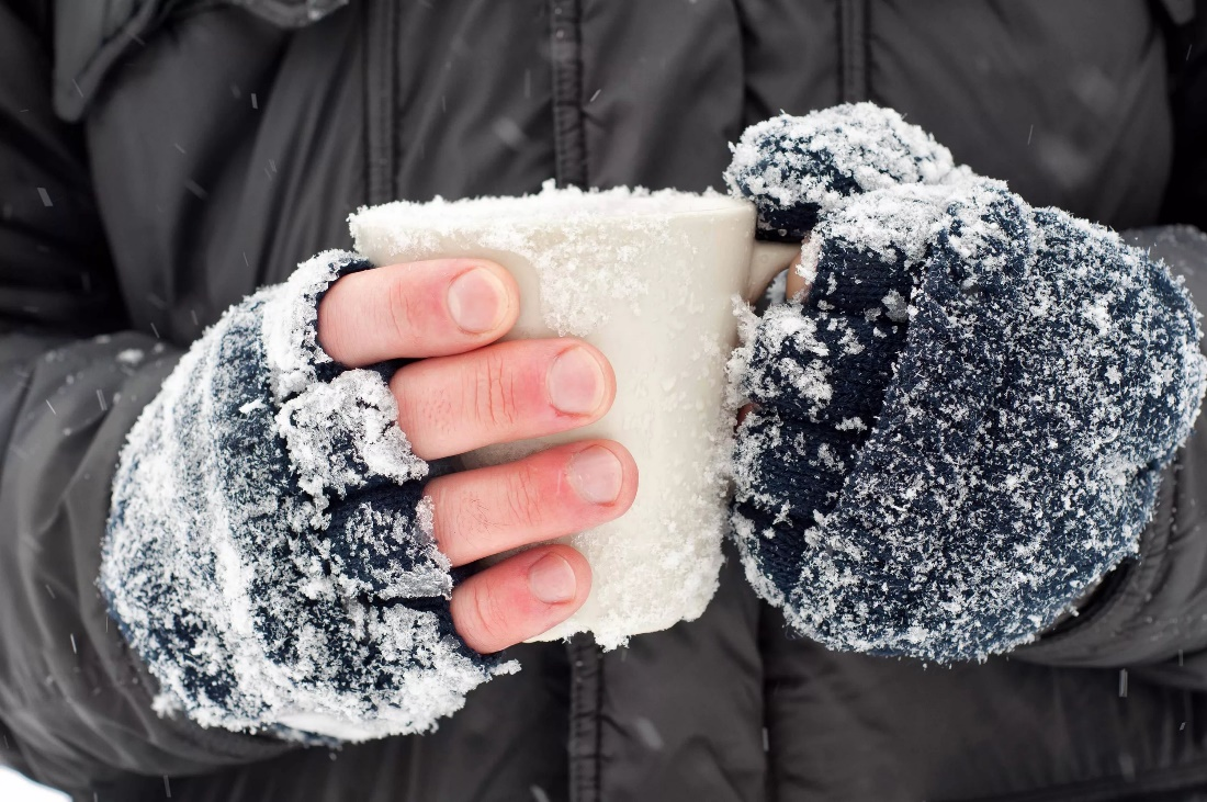 обморожении пальцев рук, ног, носа
